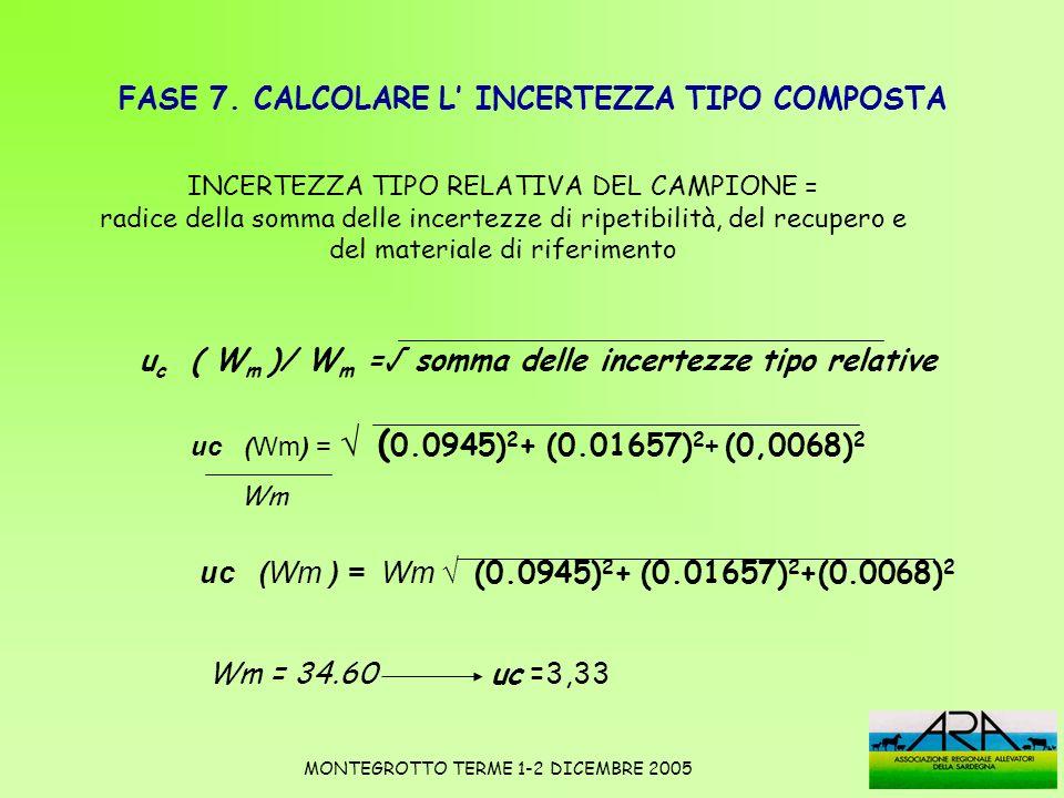 FASE 7. CALCOLARE L' INCERTEZZA TIPO COMPOSTA
