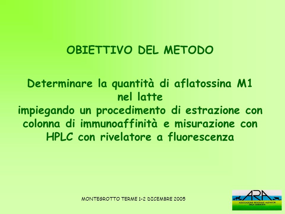 Determinare la quantità di aflatossina M1 nel latte