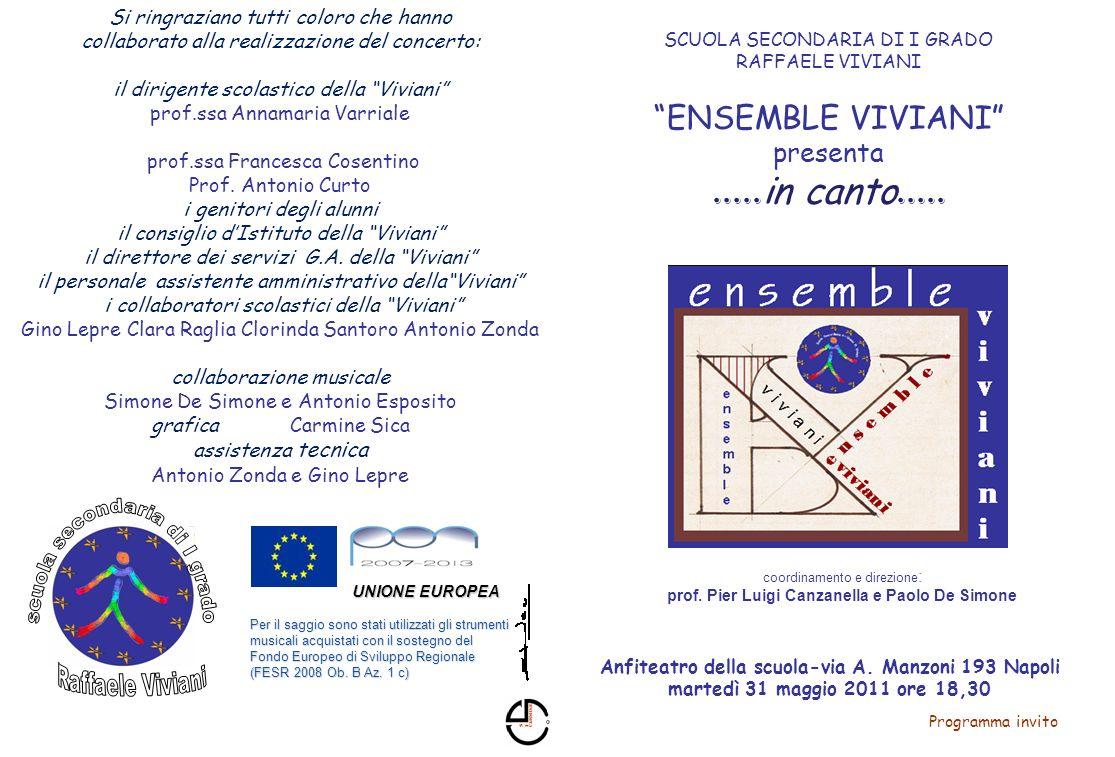 .....in canto..... ENSEMBLE VIVIANI presenta Programma invito