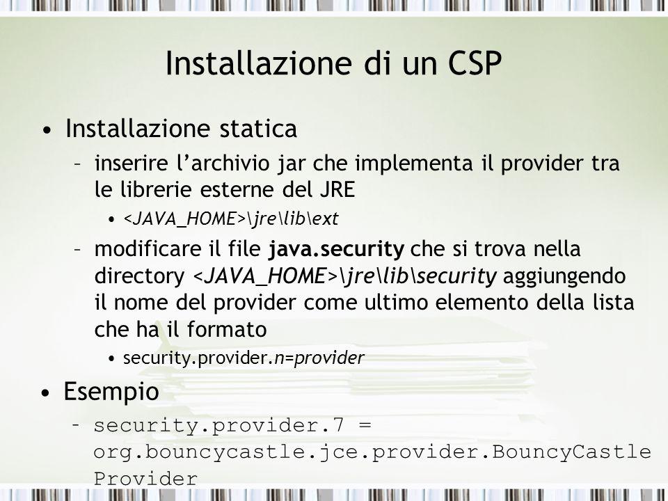 Installazione di un CSP