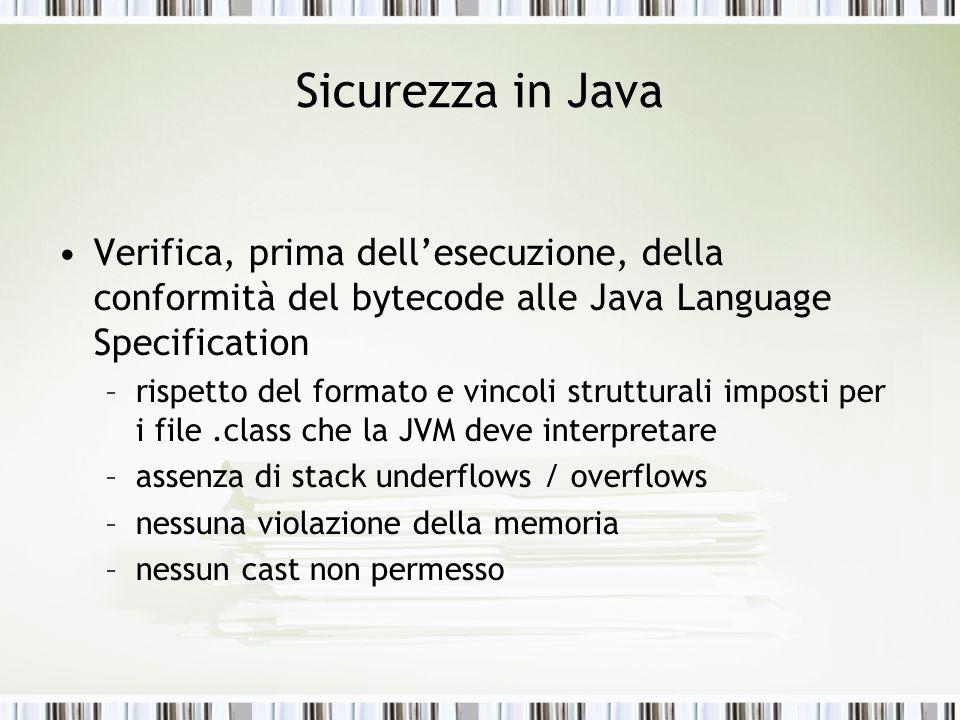Sicurezza in Java Verifica, prima dell'esecuzione, della conformità del bytecode alle Java Language Specification.