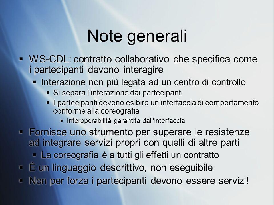 Note generali WS-CDL: contratto collaborativo che specifica come i partecipanti devono interagire.