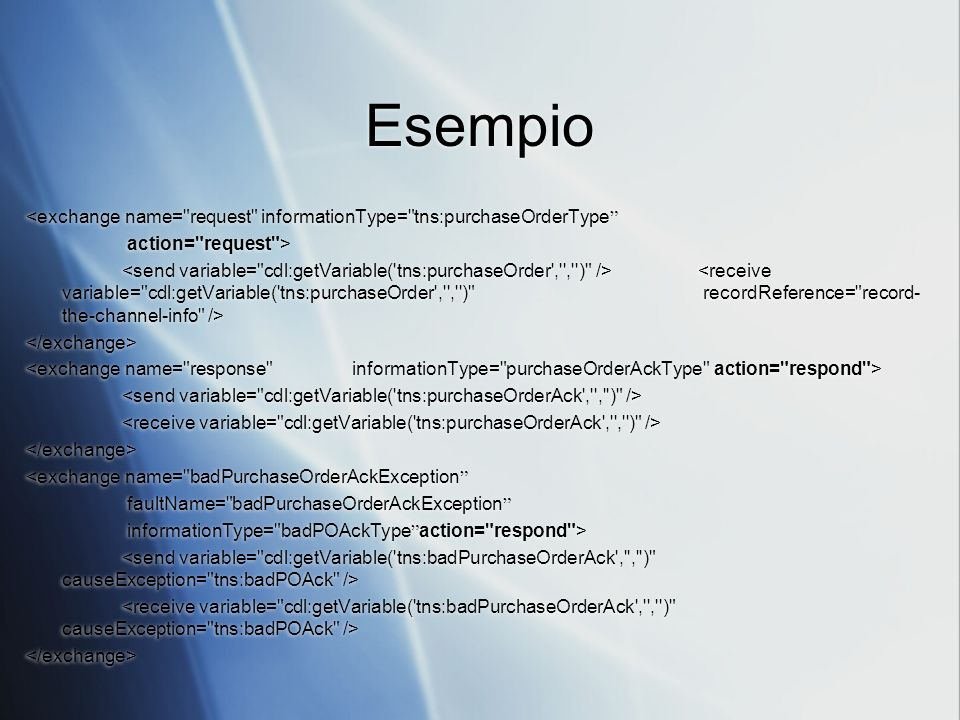 Esempio <exchange name= request informationType= tns:purchaseOrderType action= request >