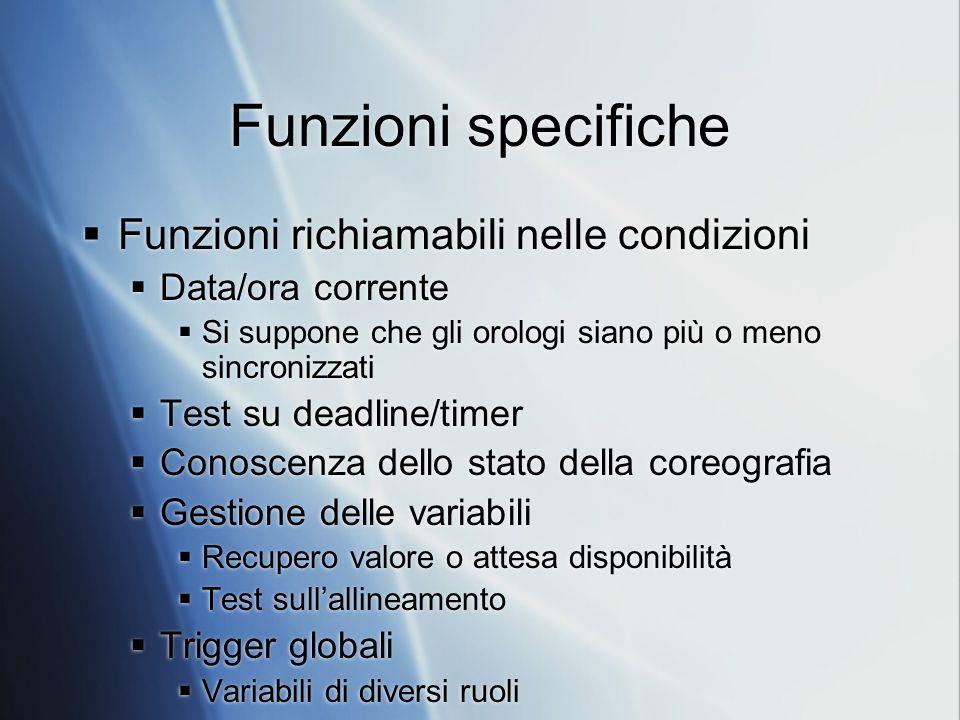 Funzioni specifiche Funzioni richiamabili nelle condizioni