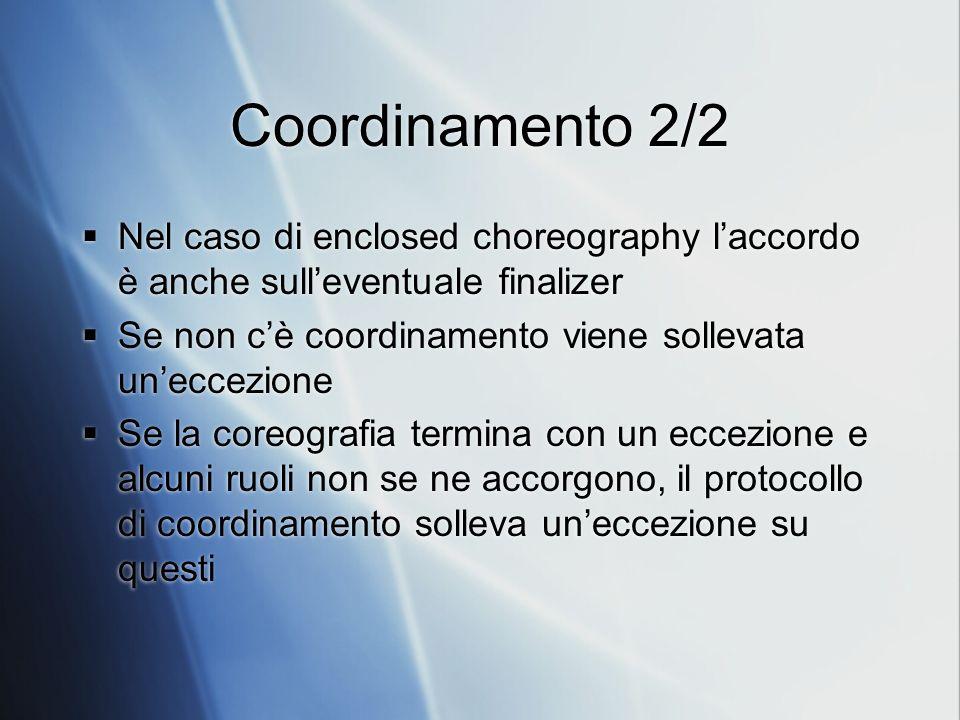 Coordinamento 2/2 Nel caso di enclosed choreography l'accordo è anche sull'eventuale finalizer.