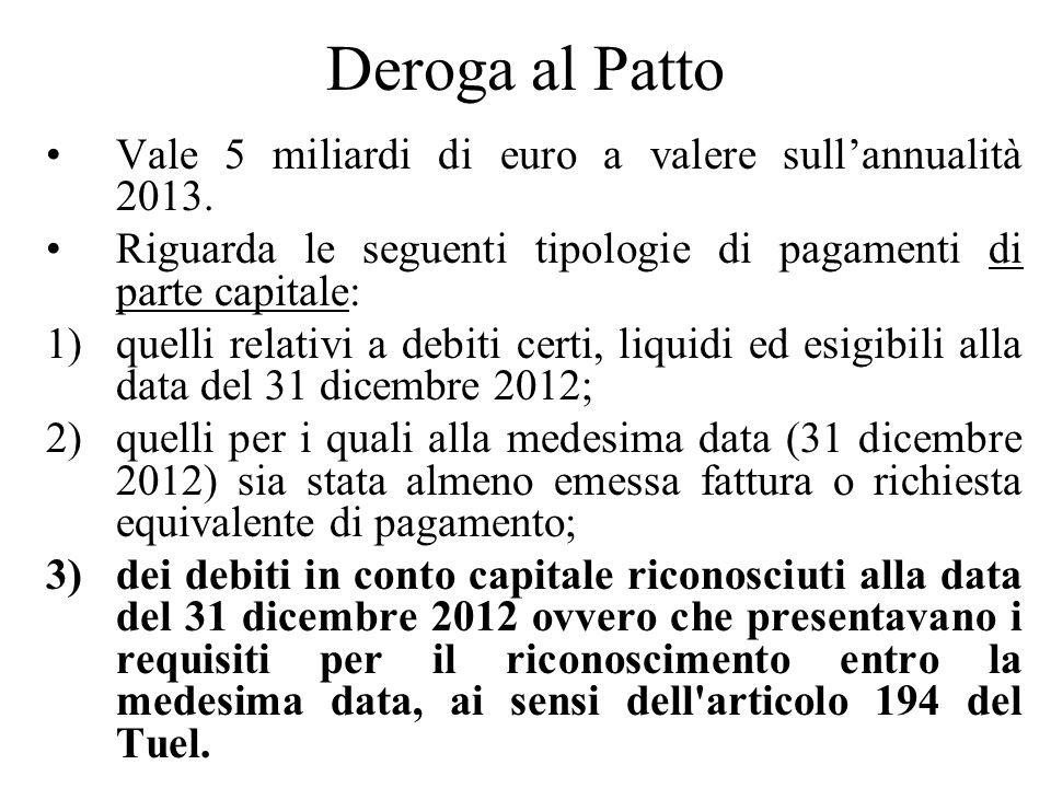Deroga al Patto Vale 5 miliardi di euro a valere sull'annualità 2013.