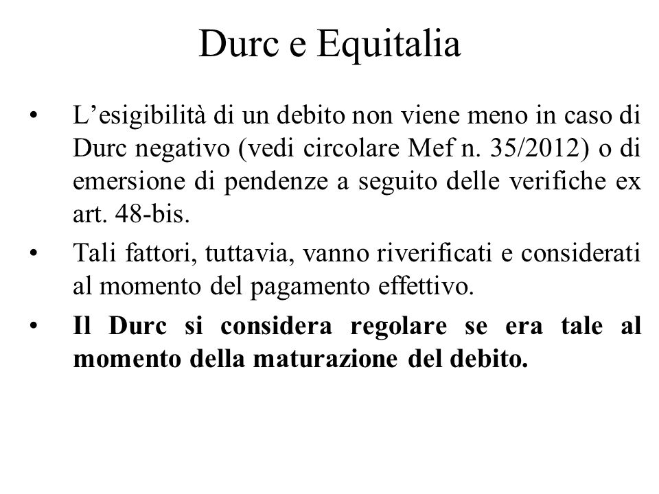 Durc e Equitalia