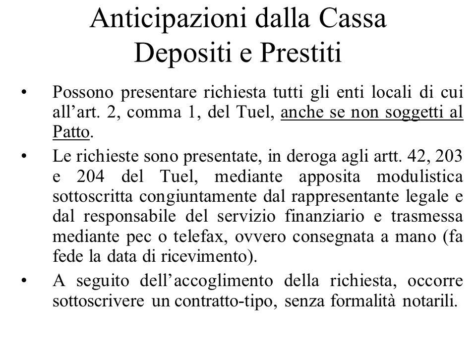 Anticipazioni dalla Cassa Depositi e Prestiti