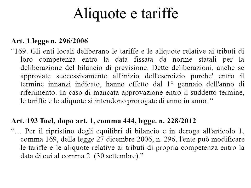 Aliquote e tariffe Art. 1 legge n. 296/2006