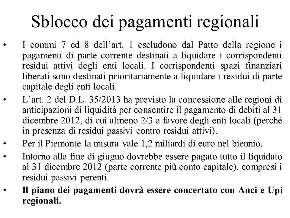Sblocco dei pagamenti regionali