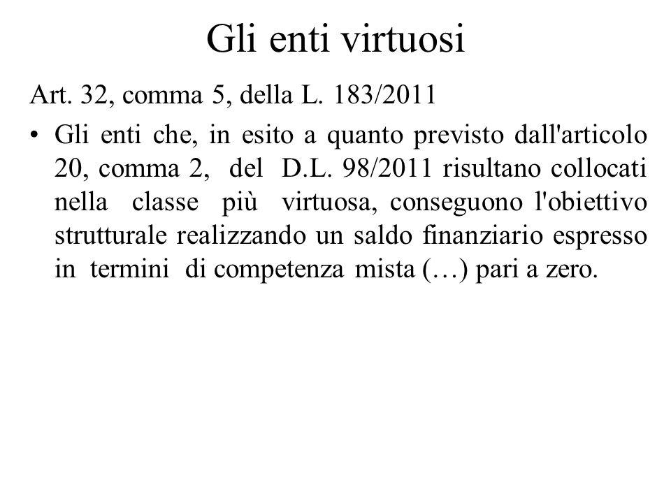 Gli enti virtuosi Art. 32, comma 5, della L. 183/2011