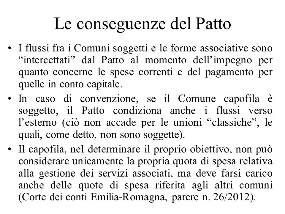 Le conseguenze del Patto