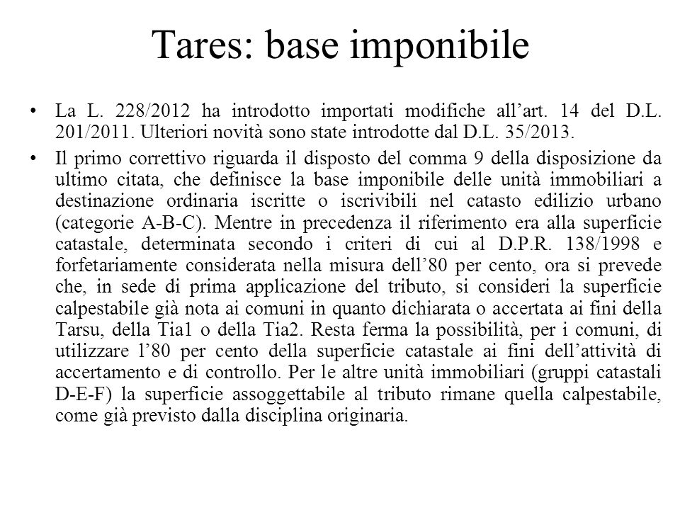 Tares: base imponibile