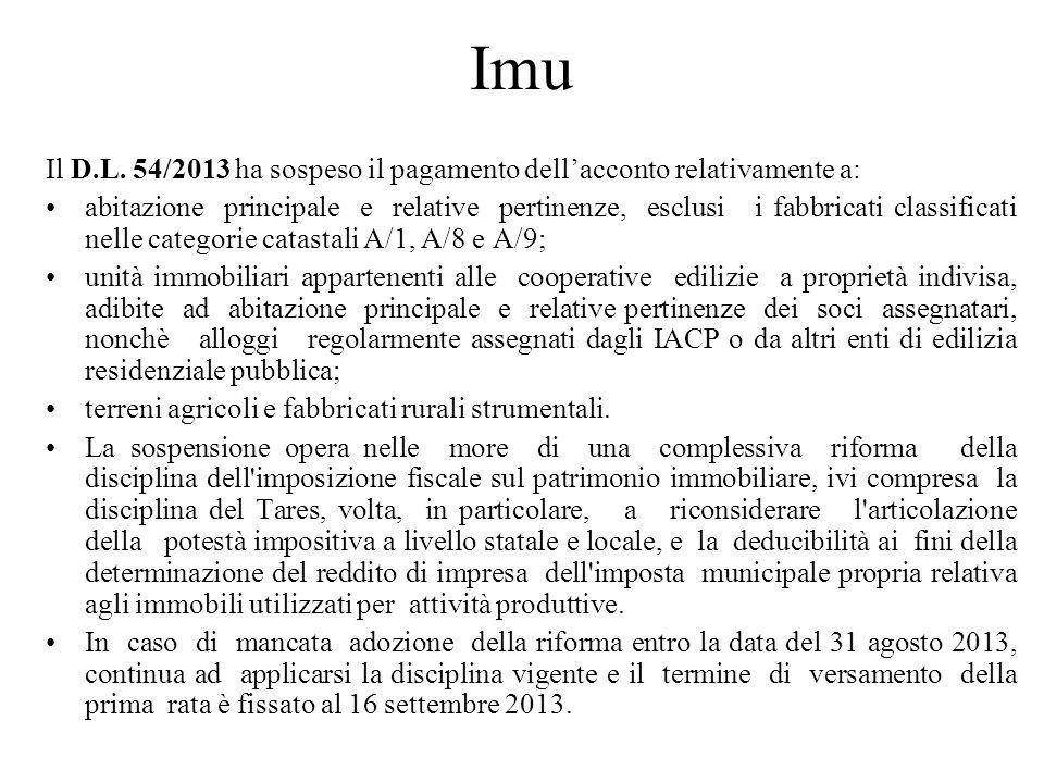 Imu Il D.L. 54/2013 ha sospeso il pagamento dell'acconto relativamente a: