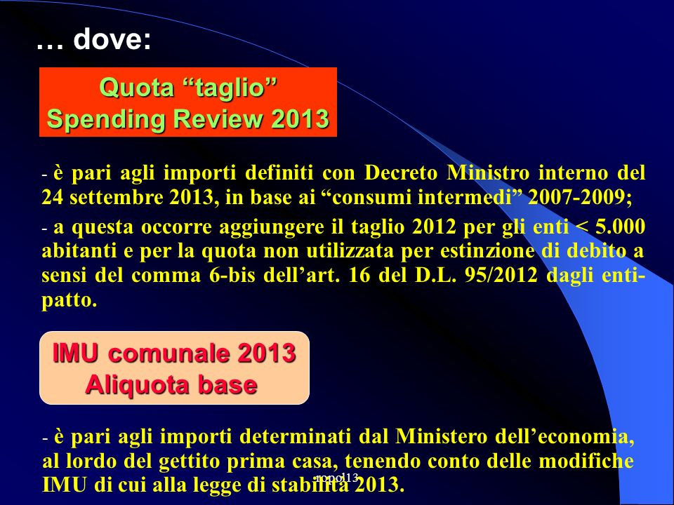 Quota taglio Spending Review 2013