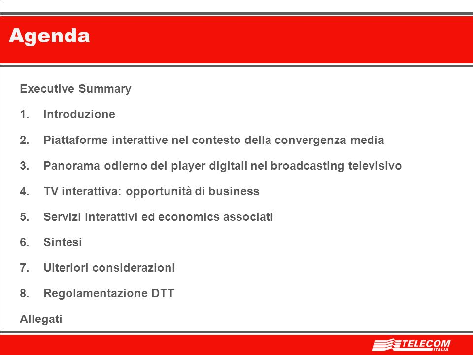 Agenda Executive Summary Introduzione