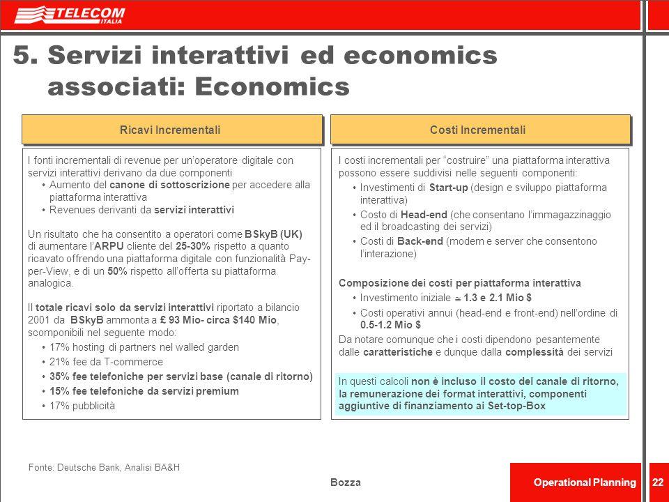 5. Servizi interattivi ed economics associati: Economics