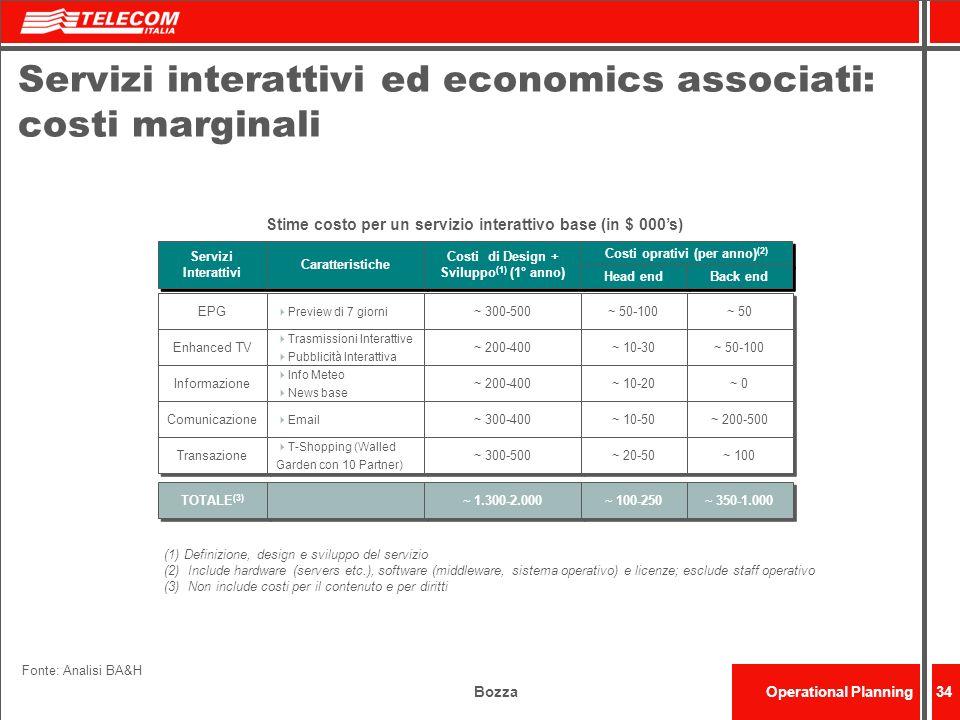Servizi interattivi ed economics associati: costi marginali