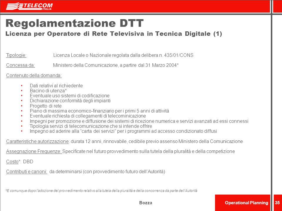 Regolamentazione DTT Licenza per Operatore di Rete Televisiva in Tecnica Digitale (1)
