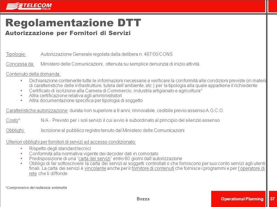 Regolamentazione DTT Autorizzazione per Fornitori di Servizi
