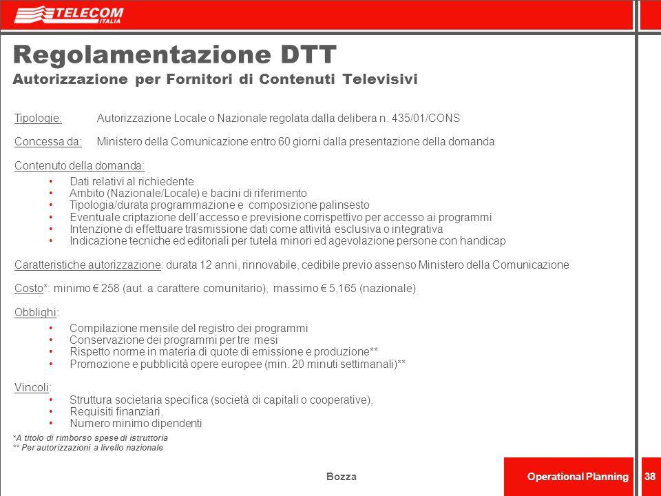 Regolamentazione DTT Autorizzazione per Fornitori di Contenuti Televisivi