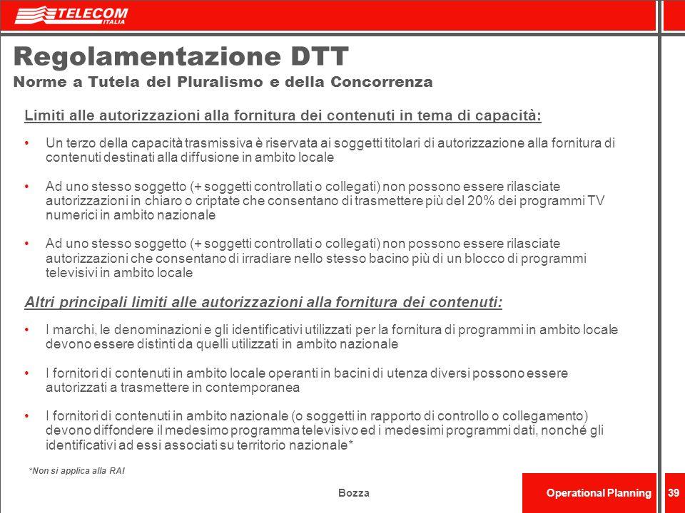 Regolamentazione DTT Norme a Tutela del Pluralismo e della Concorrenza
