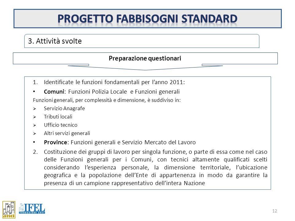 Progetto fabbisogni standard Preparazione questionari