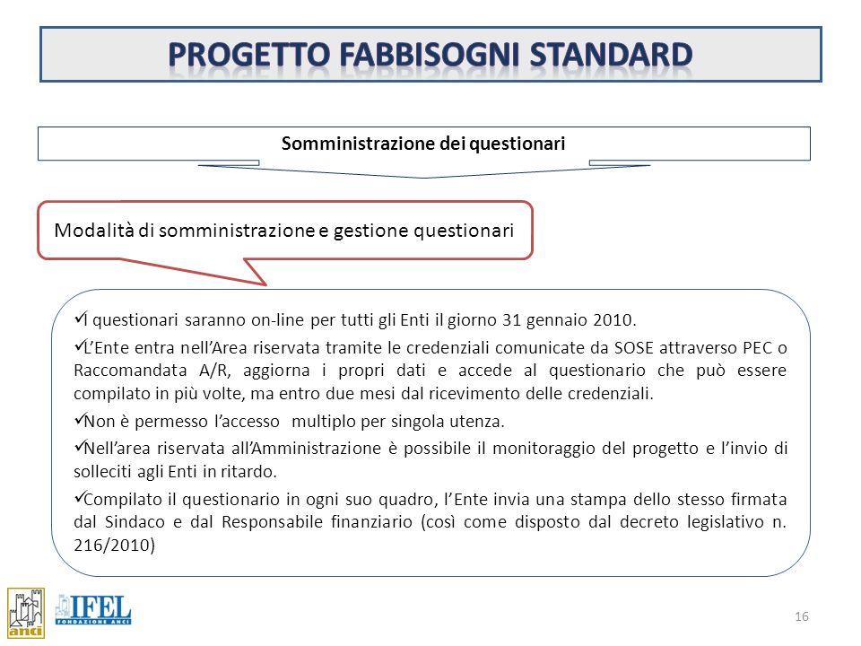 Progetto fabbisogni standard Somministrazione dei questionari
