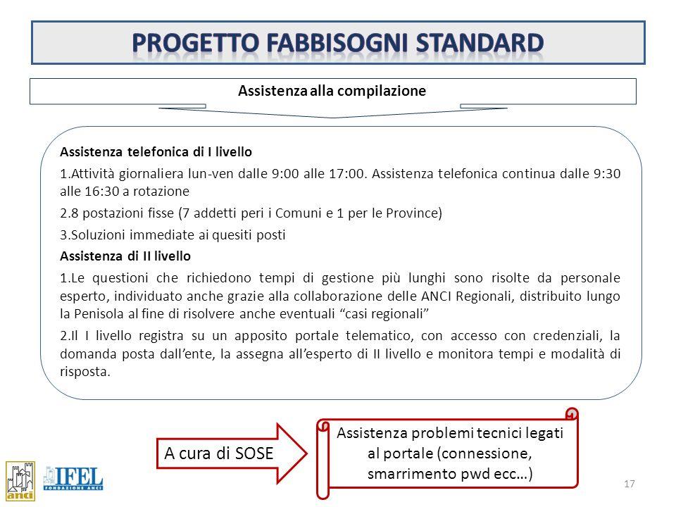 Progetto fabbisogni standard Assistenza alla compilazione