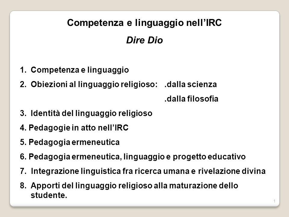 Competenza e linguaggio nell'IRC