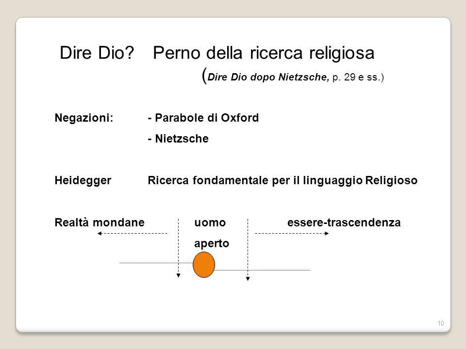 Dire Dio. Perno della ricerca religiosa. (Dire Dio dopo Nietzsche, p