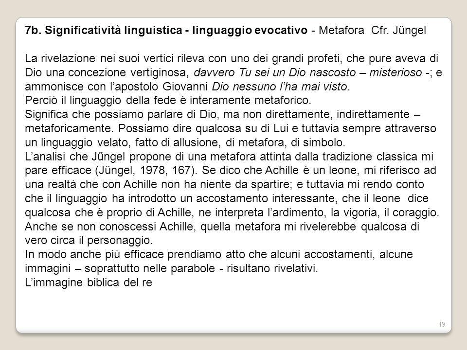 7b. Significatività linguistica - linguaggio evocativo - Metafora Cfr