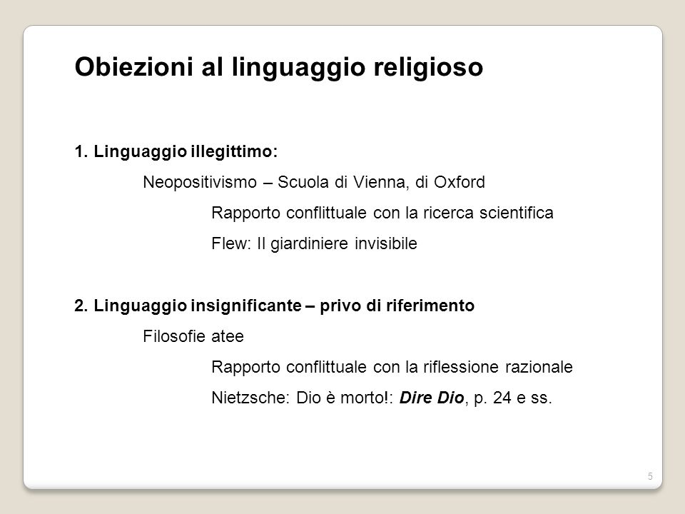 Obiezioni al linguaggio religioso