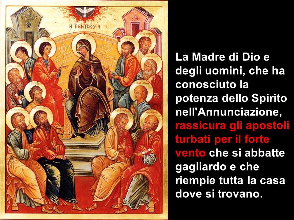 La Madre di Dio e degli uomini, che ha conosciuto la potenza dello Spirito nell Annunciazione, rassicura gli apostoli turbati per il forte vento che si abbatte gagliardo e che riempie tutta la casa dove si trovano.
