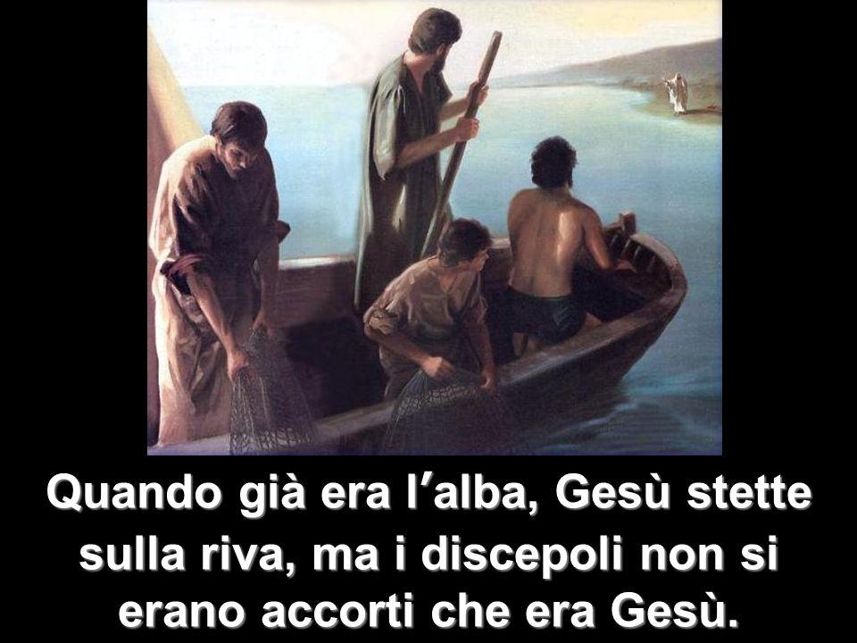 Quando già era l'alba, Gesù stette sulla riva, ma i discepoli non si erano accorti che era Gesù.