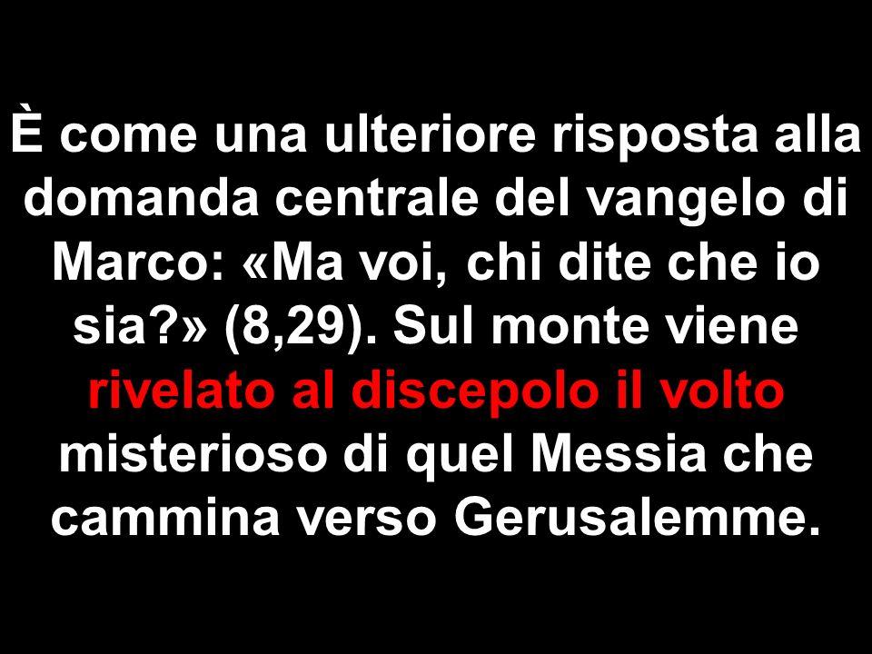È come una ulteriore risposta alla domanda centrale del vangelo di Marco: «Ma voi, chi dite che io sia » (8,29).