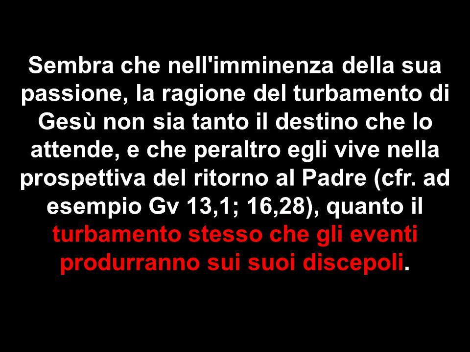 Sembra che nell imminenza della sua passione, la ragione del turbamento di Gesù non sia tanto il destino che lo attende, e che peraltro egli vive nella prospettiva del ritorno al Padre (cfr.