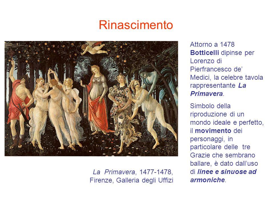 Rinascimento Attorno a 1478 Botticelli dipinse per Lorenzo di Pierfrancesco de' Medici, la celebre tavola rappresentante La Primavera.