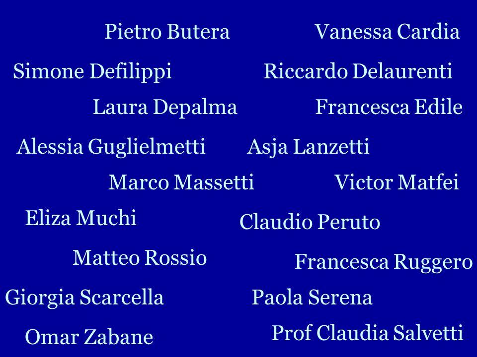 Pietro Butera Vanessa Cardia. Simone Defilippi. Riccardo Delaurenti. Laura Depalma. Francesca Edile.