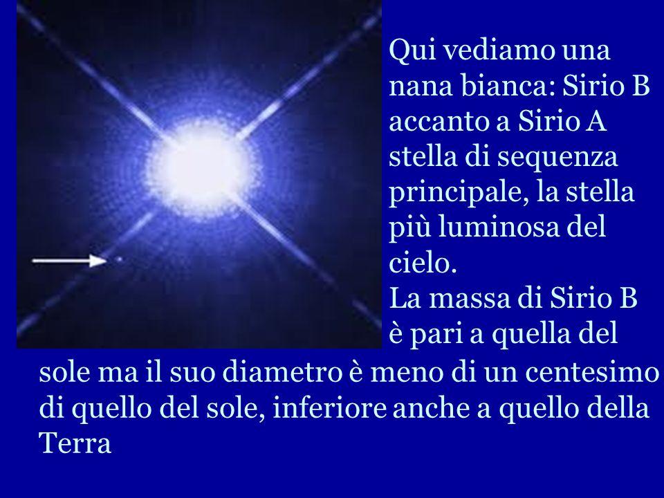 Qui vediamo una nana bianca: Sirio B accanto a Sirio A stella di sequenza principale, la stella