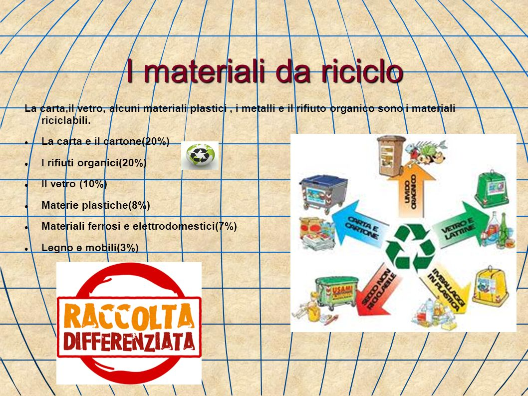 I materiali da riciclo La carta,il vetro, alcuni materiali plastici , i metalli e il rifiuto organico sono i materiali riciclabili.
