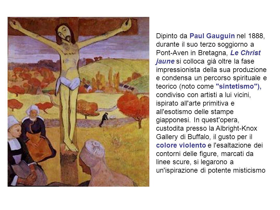 Dipinto da Paul Gauguin nel 1888, durante il suo terzo soggiorno a Pont-Aven in Bretagna, Le Christ jaune si colloca già oltre la fase impressionista della sua produzione e condensa un percorso spirituale e teorico (noto come sintetismo ), condiviso con artisti a lui vicini, ispirato all arte primitiva e all esotismo delle stampe giapponesi.
