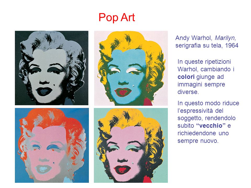 Pop Art Andy Warhol, Marilyn, serigrafia su tela, 1964