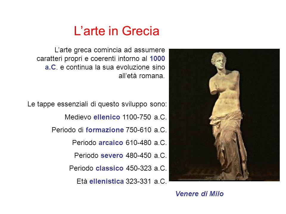L'arte in Grecia L'arte greca comincia ad assumere caratteri propri e coerenti intorno al 1000 a.C. e continua la sua evoluzione sino all'età romana.