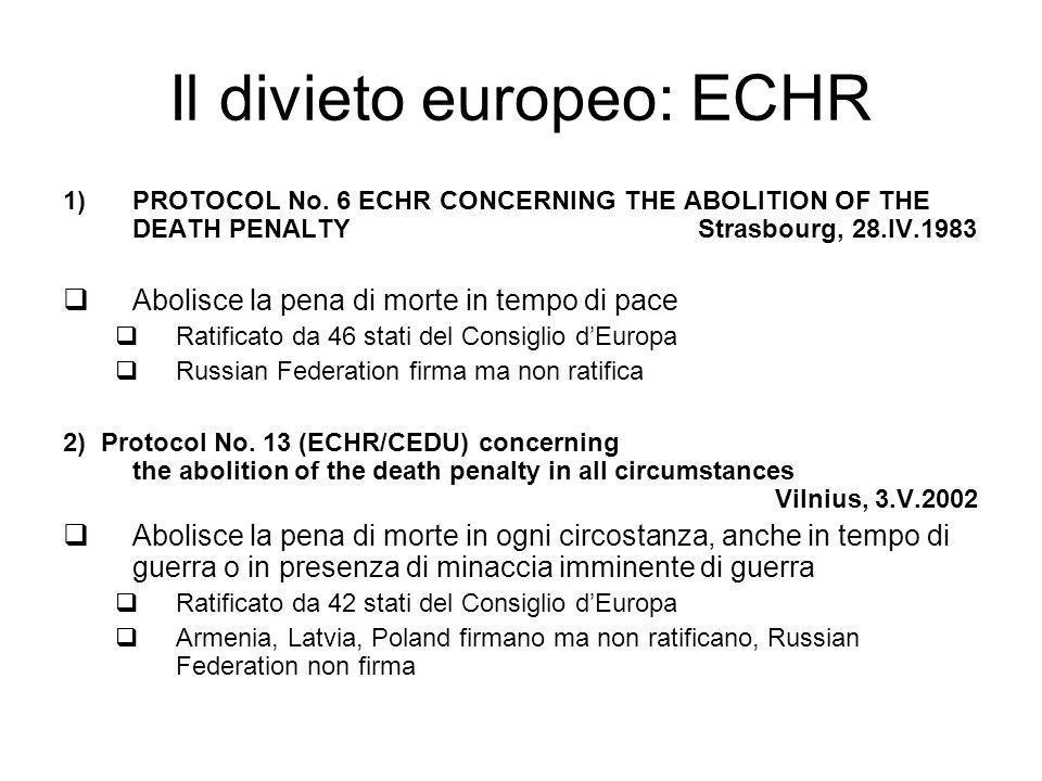 Il divieto europeo: ECHR
