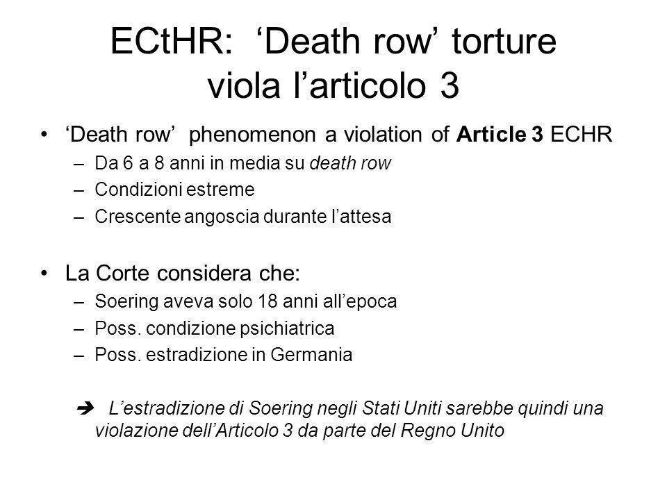 ECtHR: 'Death row' torture viola l'articolo 3