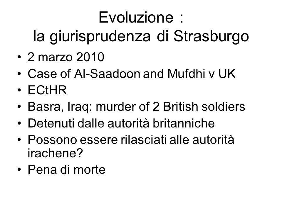 Evoluzione : la giurisprudenza di Strasburgo