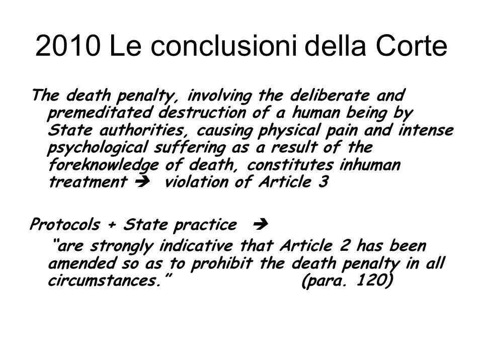 2010 Le conclusioni della Corte