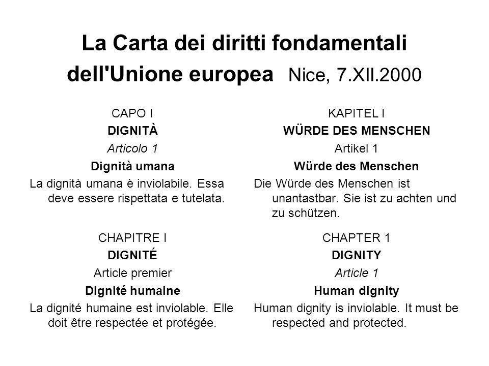 La Carta dei diritti fondamentali dell Unione europea Nice, 7.XII.2000