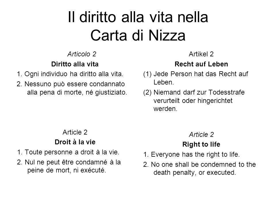Il diritto alla vita nella Carta di Nizza